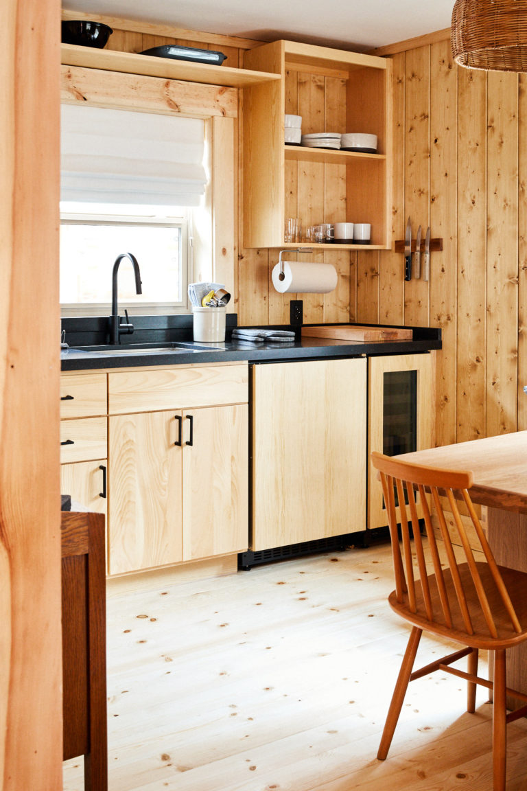 light wood cabinets in cabin kitchen