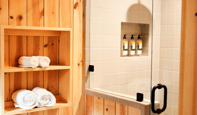 Shower in cabin with hotel bathroom amenities