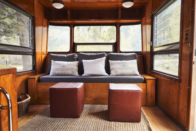 Seating area in guest camper