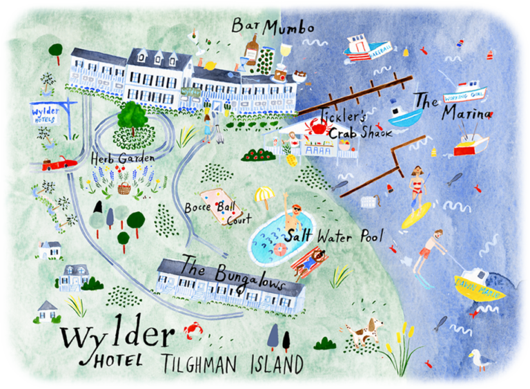 Map of the Wylder Hotel Tilghman Island property
