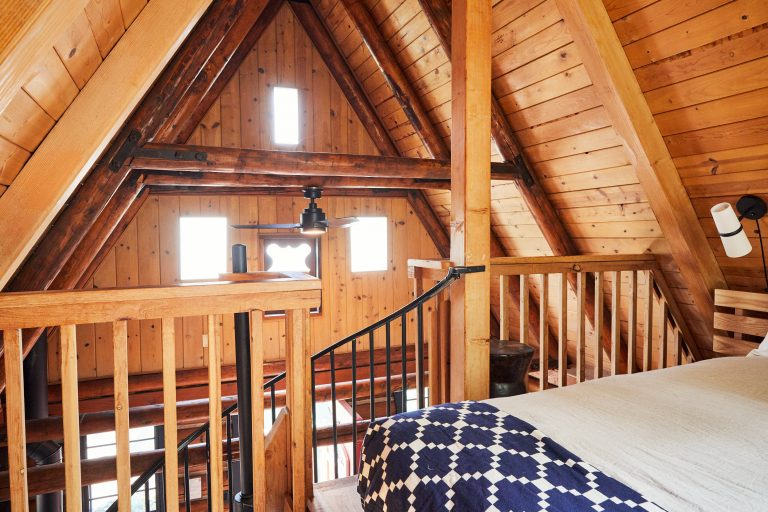 Second story balcony in cabin guest room