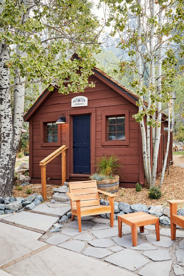 Cabin with outdoor seating area