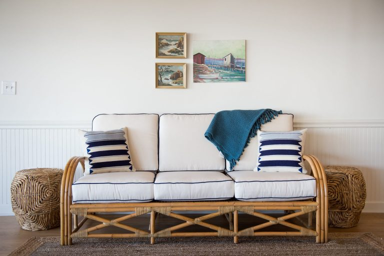 Wylder Lobby Couch with decorative pillows