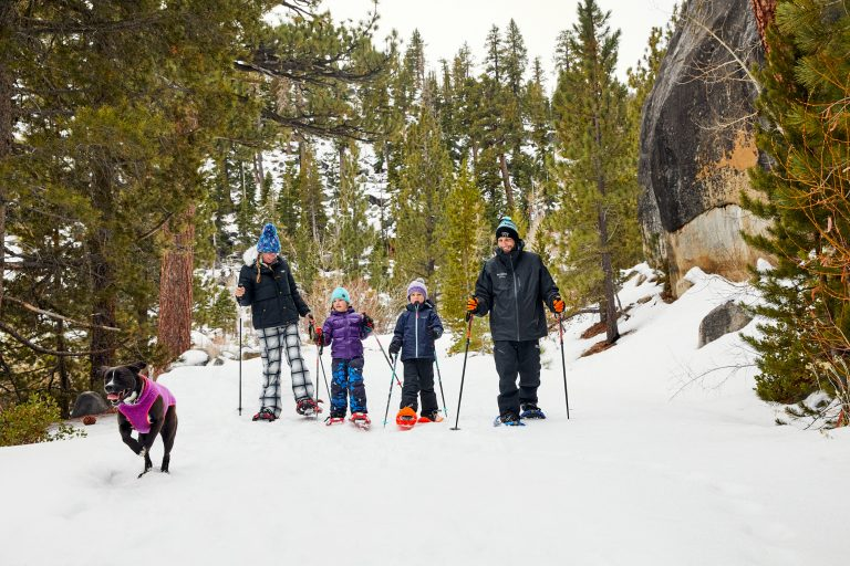 Family Snowshoeing with dog